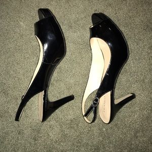 Franco Sarto Shoes - Black patent leather platform sandals
